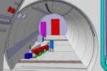 Raffigurazione del nuovo esperimento Faser per dare la caccia a particelle sconosciute, come quelle della materia oscura. (fonte: CERN)