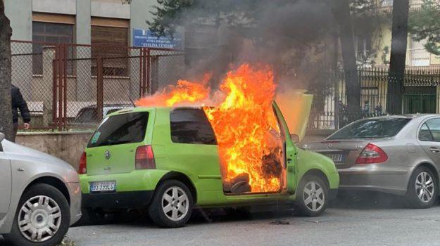 auto in fiamme, cosenza, incendio cosenza, vigili del fuoco, Cosenza, Calabria, Cronaca