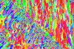 Sembra un'opera d'arte astratta, la coloratissima micro-fotografia che svela i segreti di un super-metallo stampato in 3D (fonte: Balmar/Institute of Metals and Technology, Slovenia)