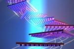 Rappresentazione grafica di un oggetto con la superficie ricoperta di nanostrutture in grado di riorientarlo per farlo rimanere nel raggio di azione del laser (fonte: Atwater laboratory)