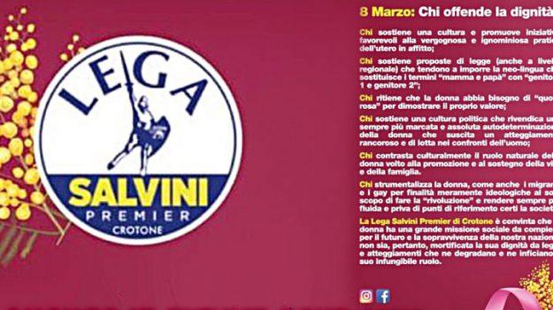 lega, polemiche, volantino 8 marzo, giancarlo cerelli, Matteo Salvini, Catanzaro, Calabria, Politica