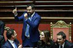 Il vice premier e ministro dell'Interno Matteo Salvini dopo il voto finale sulla legittima difesa