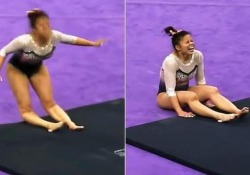 Atterra in malo modo: la ginnasta si rompe entrambe le gambe La ginnasta americana Samantha Cerio prova una difficile capriola ma cade male - CorriereTV
