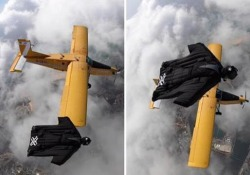 Con la tuta alare accanto all'aeroplano: lo show a 15.000 piedi L'impresa nei cieli dell'Algarve, in Portogallo - CorriereTV