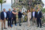 Opera d'arte dedicata a Vincenzo Nibali alla cittadella universitaria di Messina