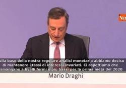 Bce, Draghi: «Tassi fermi o invariati fino a metà 2020» Le parole del Presidente della BCE - Agenzia Vista/Alexander Jakhnagiev
