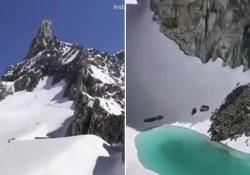 Un lago sul Monte Bianco: è il ghiacciaio che si scioglie L'ha fotografato un istruttore di arrampicata, Bryan Mestre, che ha postato le immagini su Instagram e ha commentato: «È arrivato il momento di lanciare un allarme» - Corriere Tv