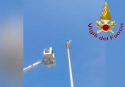 Gabbiano incastrato nella torre del faro, lo salvano i vigili del fuoco con la gru L'intervento dei pompieri a Terracina, in provincia di Latina - Corriere Tv