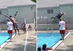 Il tuffo in piscina più spettacolare: sopra il bagnino (alto 1,85 metri) Ecco come lo studente newyorkese Ryan Tchoungoua si tuffa in piscina - CorriereTV