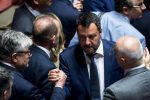 Italian Deputy Premier and Interior Minister Matteo Salviniduring a session in the Senate in Rome, Italy, 07 August 2019. The parliament votes on motions about the TAV Turin-Lyon high-speed rail link. ANSA/ANGELO CARCONI