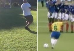 Ventidue anni dopo: Roberto Carlos ripete la punizione «impossibile» Il brasiliano ha ripetuto il celebre calcio con cui nel 1997 trafisse Barthez durante la partita contro la Francia - CorriereTV