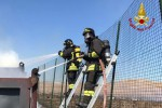 Incendio in un container all'interno della ditta Koper di Cutro