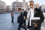 Il deputato del Partito Democratico, Dario Stefano e il capogruppo PD alla Camera, Graziano Delrio, al loro arrivo a Palazzo Chigi
