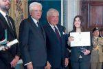 Sofia Zanetti con il presidente Mattarella