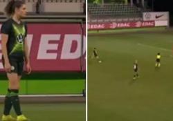 Germania, calciatrice segna punizione da 30 metri Dominique Bloodworth, calciatrice del Wolfsburg, ha segnato un gol incredibile - Dalla Rete