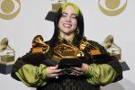 Billie Eilish fa la storia ai Grammy Awards: la cantautrice 18enne trionfa in 5 categorie