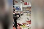 Terremoto a Rende, merce distrutta e scaffali vuoti dopo la scossa
