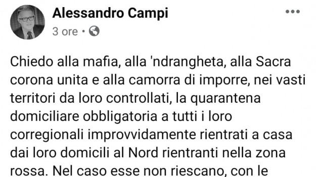 coronavirus, mafia, quarantena, Alessandro Campi, Sicilia, Cronaca