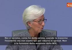 Bce, Lagarde: «Non siamo qui per ridurre lo spread» Le parole della presidente della Bce in conferenza stampa a Francoforte: Non è la missione della Bce, ci sono altri strumenti e altre istituzioni incaricate di farlo - Agenzia Vista/Alexander Jakhnagiev