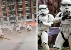 «Corona Wars»: a disinfettare le strade arrivano gli «stormtrooper» La scena arriva dalla Cina e sembra uscita da Star Wars - Dalla Rete