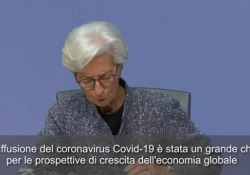 Coronavirus, Lagarde: «Choc per l'economia globale» La presidente della Banca Centrale Europea parlando da Francoforte - Ansa