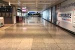 L'aeroporto di Roma Fiumicino deserto sabato pomeriggio