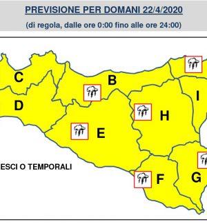Pioggia e temporali domani in Sicilia, diramata l'allerta gialla