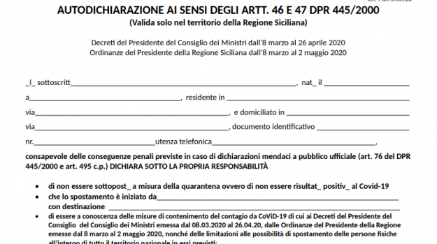 autocertificazione, coronavirus, fase 2, Sicilia, Cronaca