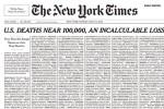 La prima pagina choc del New York Times con i nomi delle vittime del Coronavirus