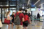 Turisti in partenza dall'aeroporto di Fiumicino