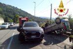 Incidente a Catanzaro, auto si ribalta a Janò dopo lo scontro con un Suv