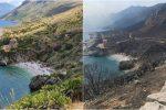 Riserva dello Zingaro distrutta dal fuoco, la foto sconvolgente prima e dopo l'incendio