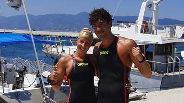 gara, nuoto, stretto, traversata, Andrea Manzi, Ginevra Taddeucci, Messina, Sicilia, Sport