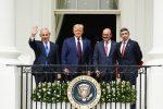 Benjamin Netanyahu, Donald J. Trump, Khalid Bin Ahmed Al-Khalifa, Abdullah bin Zayed bin Sultan Al Nahyan