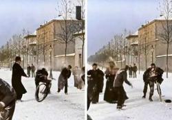 Una battaglia di palle di neve nel 1896 nella pellicola restaurata e a colori Un'allegra scena nel film di Lumière del XIX secolo - CorriereTV