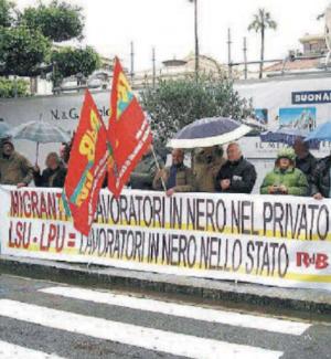 Una delle manifestazioni dei lavoratori Lsu Lpu