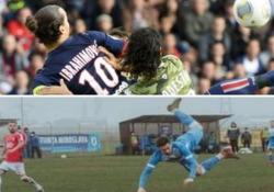 Asavoaei (come Ibrahimovic) segna con il gol dello «scorpione Durante la partita tra il suo Stiinta Miroslava e il CSM Pascani - Dalla Rete