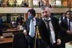 Il procuratore Giovanni Bombardieri e l'aggiunto Giuseppe Lombardo nell'aula bunker di viale Calabria