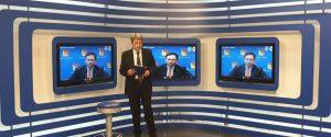 """L'assessore regionale Ruggero Razza Durante il collegamento con """"Scirocco"""", il talk di Rtp condotto da Emilio Pintaldi"""