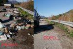 Il Comune ha pulito le piazzole di sosta invase dai rifiuti