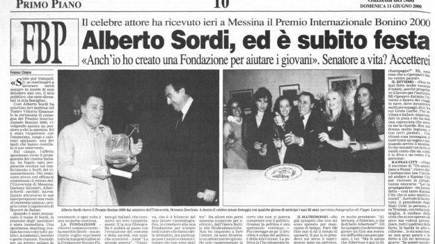 """Quando nel 2000 Alberto Sordi ritirò a Messina il """"Premio Bonino"""""""