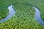 Il fiume Kwango che si unisce al fiume Kasai, nella Repubblica Democratica del Congo, visto dal satellite Landsat della Nasa (fonte: NASA)