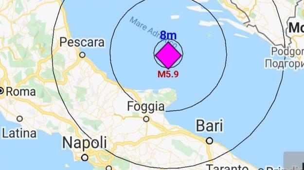 centro sud, mar adriatico, puglia, terremoto, Sicilia, Cronaca