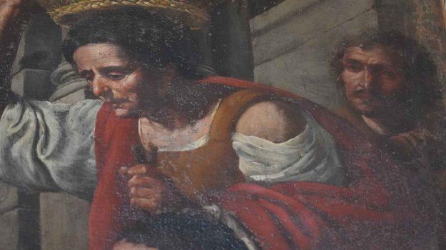 Un particolare, con probabile autoritratto di Giovanni Battista Colimodio, dell'Adorazione dei pastori, 1657-1663 circa, nella Chiesa dei Santi Pietro e Paolo a Morano Calabro