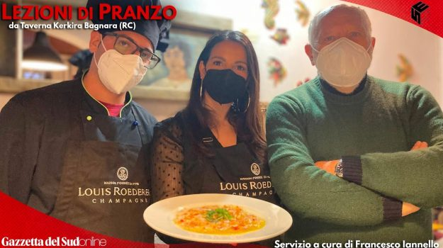 Domenico Patafi, Maria Luce e Fulvio Dato presentano il carpaccio di merluzzo