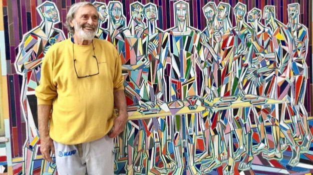 Nik Spatari col suo mosaico sull'Ultima cena