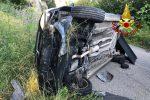 Auto finisce fuori strada a Falerna, conducente trasportato in ospedale con l'elisoccorso