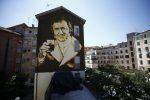 Roma: inaugurazione del murale di Aberto Sordi alla Garbatella