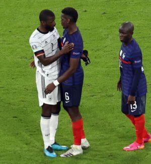 """Euro 2020, Pogba perdona Rudiger (che si scusa) dopo... il morso: """"Siamo amici"""""""