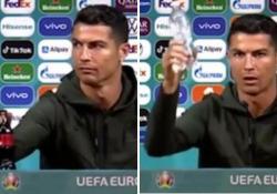 A Cristiano Ronaldo non piace la Coca-Cola e la toglie dall'inquadratura Il gigante delle bevande e sponsor di Euro 2020 non gradirà affatto la performance di CR7 - CorriereTV